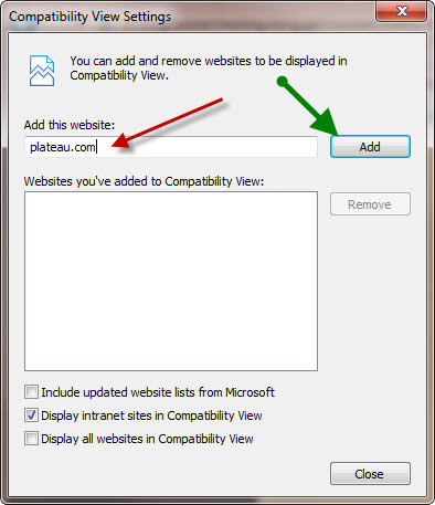 """Step 3: Type """"plateau.com"""" and select the """"Add"""" button."""